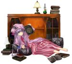 book feet hat nabeshima_tetsuhiro necronomicon patchouli_knowledge pillow purple_hair solo touhou