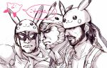 captain_falcon cosplay f-zero facial_hair ganondorf hat kirby kirby_(series) lowres metal_gear_solid monochrome multiple_boys nintendo pikachu pikachu_(cosplay) pokemon purple scarf solid_snake speech_bubble super_smash_bros. the_legend_of_zelda