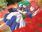 alternate_hairstyle flower green_hair mi_(pixiv18234) multiple_girls no_hat no_headwear onozuka_komachi red_hair redhead shikieiki_yamaxanadu sleeping spider_lily touhou