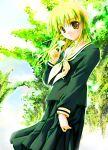 flower leaf leaves maria-sama_ga_miteru school_uniform serafuku smile sunlight toudou_shimako tree trees