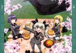 3girls :d absurdres anchovy anzio_military_uniform black_legwear black_neckwear black_ribbon black_shirt blonde_hair brown_eyes calendar carpaccio cherry_blossoms day drill_hair eating eyebrows_visible_through_hair food from_above girls_und_panzer green_eyes grey_hair grey_jacket grey_pants grey_skirt ground_vehicle hair_between_eyes hair_ribbon hand_on_hip highres holding holding_food indian_style jacket kneeling long_hair looking_up military military_vehicle motor_vehicle multiple_girls open_mouth outdoors pants pepperoni_(girls_und_panzer) pizza purple_hair red_eyes ribbon shirt shoes_removed sitting skirt smile socks standing tank twin_drills