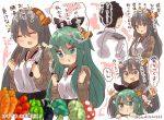 1boy 2girls ^_^ ^o^ admiral_(kantai_collection) alternate_costume aqua_eyes bell_pepper black_hair black_ribbon blush broccoli cabbage carrot closed_eyes commentary_request eggplant food green_hair grey_eyes hair_between_eyes hair_ribbon hairband haruna_(kantai_collection) headgear heart highres kantai_collection long_hair long_sleeves military military_uniform multiple_girls mushroom musical_note naval_uniform open_mouth pepper pout quaver ribbon short_hair smile sparkle speech_bubble suzuki_toto tomato translation_request uniform yamakaze_(kantai_collection)