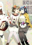 4girls :d ahoge alternate_costume bench black_hair blue_eyes blurry brown_eyes brown_hair building casual claws cosplay depth_of_field detached_sleeves enemy_aircraft_(kantai_collection) fake_horns food hairband halloween halloween_costume hiryuu_(kantai_collection) holding horn horns i-class_destroyer ice_cream ice_cream_cone kantai_collection long_hair midway_hime midway_hime_(cosplay) miss_cloud mittens multiple_girls northern_ocean_hime northern_ocean_hime_(cosplay) open_mouth park_bench person_carrying pleated_skirt red_eyes seaport_water_oni shinkaisei-kan short_hair size_difference skirt smile souryuu_(kantai_collection) white_hair white_skin yuzuki_yuno