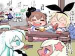 6+girls ahoge animal_ears aqua_eyes bangs blonde_hair blue_eyes blunt_bangs brown_hair chef_hat chibi chopsticks cloak closed_eyes collar comic commentary_request dress eating elbow_gloves enemy_aircraft_(kantai_collection) fake_animal_ears fan fish flower folded_ponytail food_in_mouth fur_trim gloves grilling hachimaki hair_between_eyes hair_flower hair_ornament hairband happi hat headband headgear holding_chopsticks horns japanese_clothes kantai_collection long_hair multiple_girls nejiri_hachimaki northern_ocean_hime northern_water_hime open_mouth paper_fan rabbit_ears rensouhou-chan rice rice_bowl sailor_dress sako_(bosscoffee) saury shimakaze_(kantai_collection) shinkaisei-kan sidelocks sitting sitting_on_head sitting_on_person smile submarine_hime tan translation_request u-511_(kantai_collection) white_hair yukikaze_(kantai_collection)