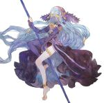 1girl aqua_(fire_emblem_if) barefoot blue_hair fire_emblem fire_emblem_if holding long_hair looking_at_viewer shourou_kanna simple_background solo staff thigh-highs veil wavy_hair white_background