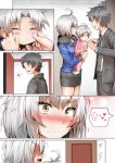 1boy 2girls ahoge androgynous baby black_hair blush cheek_pinching comic commentary_request fate/grand_order fate_(series) fujimaru_ritsuka_(male) ginhaha heart if_they_mated jeanne_alter mother_and_daughter multiple_girls pinching ruler_(fate/apocrypha) short_hair silent_comic silver_hair spoken_heart