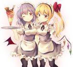 2girls absurdres alternate_costume apron bangs bat_wings black_legwear blonde_hair blue_dress blush breasts cowboy_shot detached_collar dress enmaided eyebrows_visible_through_hair flandre_scarlet food frilled_dress frills hair_between_eyes hand_up highres ice_cream lavender_hair layered_dress looking_at_viewer maid maid_apron maid_headdress multiple_girls neno_(nenorium) one_eye_closed pantyhose pink_background puffy_short_sleeves puffy_sleeves red_eyes remilia_scarlet short_dress short_hair short_sleeves side_ponytail sidelocks small_breasts smile thigh-highs touhou tray waist_apron white_background white_dress wings zettai_ryouiki