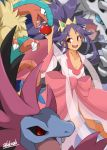 1girl :d aggron alakoala_shoushou archeops bangs breasts cleavage collarbone dark_skin dress highres hydreigon iris_(pokemon) long_hair long_sleeves open_mouth pink_dress poke_ball pokemon pokemon_(creature) pokemon_(game) pokemon_bw2 purple_hair red_eyes ribbon smile tied_hair very_long_hair wide_sleeves