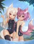 2girls absurdres animal_ears ass black_legwear competition_school_swimsuit cowboy_shot fox_ears fox_tail hair_bobbles hair_ornament highres hotel01 long_hair looking_at_viewer multiple_girls one-piece_swimsuit one_side_up open_mouth original outdoors partially_submerged pink_eyes pink_hair plant ponytail red_eyes school_swimsuit short_hair small_breasts swimsuit tail thigh-highs water waving wet white_hair white_legwear