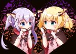 2girls :o aqua_eyes bangs bat blonde_hair blue_eyes blush bow broom brown_cape candy candy_wrapper closed_mouth collared_shirt commentary_request cosplay domino_mask eye_contact eyebrows_visible_through_hair food gloves gochuumon_wa_usagi_desu_ka? goth_risuto hair_between_eyes hair_bow hair_ornament halloween heart holding holding_mask jack-o'-lantern kafuu_chino kirima_sharo lollipop looking_at_another mask mask_removed multiple_girls parted_lips phantom_thief_lapin phantom_thief_lapin_(cosplay) pink_vest purple_hair shirt sidelocks smile star striped striped_bow swirl_lollipop twintails upper_body white_gloves white_shirt x_hair_ornament
