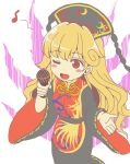 1girl bangs black_dress blonde_hair blush_stickers chinese_clothes commentary_request dress fengguan gyate_gyate holding junko_(touhou) long_hair long_sleeves microphone musical_note one_eye_closed parody red_eyes sameya simple_background solo style_parody tabard touhou white_background wide_sleeves