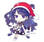 1girl blue_eyes blue_hair blush book chibi cow_tail dated doremy_sweet eyebrows_visible_through_hair full_body hat holding holding_book looking_at_viewer parted_lips red_hat short_hair sleeping_cap smile solo tail touhou yamayu