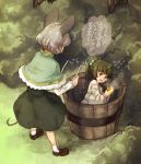 2girls animal_ears bad_id bad_twitter_id blush bucket capelet crying dowsing_rod food green_eyes green_hair grey_hair hair_bobbles hair_ornament in_bucket in_container kisume loafers mouse_ears mouse_tail multiple_girls nazrin robe shoes short_hair socks speech_bubble tail tears text touhou translation_request twintails urin wavy_mouth wooden_bucket