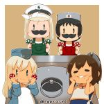 4girls alternate_costume black_hair blonde_hair blue_eyes brown_eyes brown_hair capriccyo chibi commentary_request cosplay cropped_jacket fake_mustache garrison_cap goggles goggles_on_head green_eyes hair_ornament hairband hairclip hand_on_own_cheek hat highres holding_mushroom i-401_(kantai_collection) kantai_collection long_hair looking_at_viewer luigi luigi_(cosplay) luigi_torelli_(kantai_collection) mario mario_(cosplay) mario_(series) maru-yu_(kantai_collection) multiple_girls mushroom nameko_(osawari_tantei) osawari_tantei overalls peaked_cap ponytail sailor_collar school_swimsuit shirt short_hair smile super_mario_bros. swimsuit tan twitter_username u-511_(kantai_collection) white_hairband white_school_swimsuit white_shirt white_swimsuit