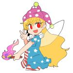 1girl :d american_flag_dress bangs blonde_hair blush clownpiece cowboy_shot dress eyebrows_visible_through_hair fairy_wings fang fire hat holding ini_(inunabe00) jester_cap long_hair looking_at_viewer neck_ruff open_mouth pantyhose polka_dot red_eyes short_dress short_sleeves simple_background smile solo star star_print striped torch touhou v very_long_hair white_background wings