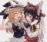 2girls apron arm_around_neck black_eyes black_gloves black_hair black_hat blonde_hair blush bow braid buttons detached_sleeves eye_contact fingerless_gloves fkey gloves gohei hair_bow hair_tubes hakurei_reimu hat hat_bow holding index_finger_raised kirisame_marisa looking_at_another mini-hakkero multiple_girls nail_polish open_mouth puffy_short_sleeves puffy_sleeves red_bow red_nails ribbon-trimmed_sleeves ribbon_trim shide short_sleeves side_braid simple_background skirt skirt_set smile touhou vest waist_apron white_bow witch_hat yellow_eyes yin_yang