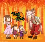 4girls :3 ^_^ animal_ears bamboo bamboo_forest bangs basket bat_wings black_hair blunt_bangs blush_stickers bow brown_hair buck_teeth burnt_clothes carrot_necklace chamaji cloak closed_eyes commentary_request dress eyebrows_visible_through_hair forest fujiwara_no_mokou grey_hair hair_bow halloween halloween_costume hands_on_hips hime_cut hood hooded_cloak horns inaba inaba_tewi jack-o'-lantern leaf long_hair mary_janes multiple_girls nature ofuda open_mouth outdoors outstretched_arms pants pink_dress rabbit_ears red_eyes shoes short_hair short_sleeves socks speech_bubble suspenders sweat touhou trick_or_treat twitter_username very_long_hair wings