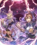 1boy 3girls animal_ears artist_request blonde_hair blue_eyes brown_eyes brown_hair buck_teeth cygames dress eyebrows_visible_through_hair fang flame_rat lightning_bolt long_hair magic mouse_ears multiple_girls official_art paws ponytail rat ribbon scared shadowverse shingeki_no_bahamut short_hair staff sweatdrop sword tail teeth transformation weapon