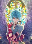 1boy angel_wings black_neckwear blue_hair cross crossed_arms food indoors kaidou_shun male_focus navel pudding red_eyes saiki_kusuo saiki_kusuo_no_psi_nan stained_glass u_iii wings