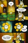 1boy asgore_dreemurr beamed_quavers beard comic english facial_hair flower flowey_(undertale) lynxgriffin monster_boy musical_note spoilers undertale watering_can