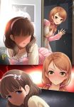 2girls angry blue_eyes blush brown_eyes brown_hair comic commentary_request eyebrows_visible_through_hair hairband highres houjou_karen idolmaster idolmaster_cinderella_girls kazu long_hair looking_at_viewer low_twintails multiple_girls p-head_producer producer_(idolmaster) sakuma_mayu short_hair silent_comic smile twintails