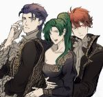 1girl 2girls blue_hair dotentity eliwood_(fire_emblem) fangs fire_emblem fire_emblem:_rekka_no_ken green_eyes green_hair hat hector_(fire_emblem) high_ponytail highres hug long_hair lyndis_(fire_emblem) mob_cap multiple_girls ponytail redhead short_hair vampire