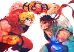 2boys andrea_cofrancesco battle black_hair blocking blonde_hair blue_eyes clenched_hands dougi facial_hair fingerless_gloves gloves grin headband highres ken_masters male_focus motion_blur multiple_boys muscle punching ryuu_(street_fighter) short_hair sleeveless smile spiky_hair street_fighter stubble thick_eyebrows torn_clothes uppercut