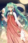 1girl absurdly_long_hair blue_eyes blue_hair blush closed_mouth collarbone eyebrows_visible_through_hair fan flower hair_flower hair_ornament hatsune_miku highres holding holding_fan ji_dao_ji long_hair looking_at_viewer moon night night_sky sky smile solo star_(sky) starry_sky twintails very_long_hair vocaloid