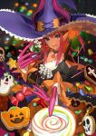 1girl bangs blue_eyes candy choker dress earrings elizabeth_bathory_(halloween)_(fate) fate/grand_order fate_(series) food frills halloween halloween_costume hat holding horns jack-o'-lantern jewelry lancer_(fate/extra_ccc) lollipop long_hair looking_at_viewer official_art open_mouth pink_hair pointy_ears pumpkin sharp_teeth smile solo star swirl_lollipop teeth wada_aruko witch_hat