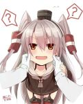 >:d 1girl :d admiral_(kantai_collection) amatsukaze_(kantai_collection) bangs black_hairband blunt_bangs brown_eyes cheek_pinching collarbone commentary_request cowboy_shot dress embarrassed flying_sweatdrops from_above garter_straps gloves hair_between_eyes hair_over_eyes hair_tubes hairband hand_holding kantai_collection long_hair open_mouth pinching question_mark sailor_dress silver_hair smile sugar_(sugar17) sweat thigh-highs two_side_up uniform very_long_hair white_gloves zettai_ryouiki