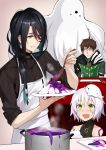 1girl 2boys alternate_costume apron assassin_of_black bare_shoulders black_hair brown_eyes character_request commentary_request fate/apocrypha fate/grand_order fate_(series) green_eyes hair_over_shoulder multiple_boys open_mouth plate scar shijiu_(adamhutt) short_hair silver_hair white_apron