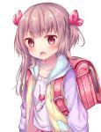 1girl arms_at_sides backpack bag bag_charm bangs blush brown_eyes brown_hair candy charm_(object) collarbone commentary_request drawstring eyebrows_visible_through_hair food hair_ribbon heart highres hood hood_down jacket key lollipop long_hair looking_at_viewer multicolored multicolored_clothes multicolored_jacket open_mouth original pink_skirt pocket purple_shirt randoseru red_ribbon ribbon shirt simple_background skirt solo tsuruse two_side_up white_background