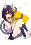 1girl absurdres animal_ears bangs black_hair black_legwear black_skirt cat_ears cat_girl cat_tail eyebrows_visible_through_hair food full_body highres holding holding_food hot_dog kneehighs lettuce looking_at_viewer looking_to_the_side multiple_tails omucchan_(omutyuan) original pleated_skirt red_eyes school_uniform serafuku shirt shoes simple_background sitting skirt sleeveless sleeveless_shirt solo star tail two-tone_background two_tails uwabaki white_background white_footwear white_shirt yellow_background