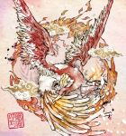 bird calligraphy_brush_(medium) commentary_request flying ho-oh imomushi_(pixiv_9001433) looking_at_viewer no_humans pink_background pokemon pokemon_(creature) pokemon_(game) signature solo spread_wings traditional_media yellow_eyes
