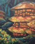 acrylic_paint_(medium) commentary_request door fantasy flower forest highres kemi_neko mushroom nature night no_humans original outdoors plant traditional_media tree village window