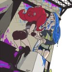 2girls ass back bike_shorts blue_hair blue_tongue boots breastplate crop_top domino_mask fangs from_behind full_body hand_in_hair jacket long_sleeves mask multiple_girls octarian one_eye_closed open_mouth paint paint_splatter pani_spla pointy_ears redhead short_sleeves splatoon splatoon_2 sweatdrop takozonesu teeth tentacle_hair tongue tongue_out wrist_grab yellow_eyes