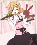 1girl ;d bangs black_footwear black_legwear black_skirt blush bow bowtie bread cake commentary_request cowboy_shot cup eyebrows_visible_through_hair food from_behind gochuumon_wa_usagi_desu_ka? hair_between_eyes hair_ornament hairclip holding holding_tray hoto_cocoa lettuce long_sleeves looking_at_viewer looking_back nurutema one_eye_closed open_mouth orange_hair pantyhose pink_background pink_vest rabbit red_neckwear shirt short_hair skirt smile solo standing standing_on_one_leg striped striped_background teeth tray violet_eyes white_shirt