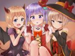 >:) 3girls :d blue_eyes breasts cleavage commentary_request couvh demon_girl demon_tail demon_wings detached_collar grey_eyes hair_ornament halloween hand_holding hat hoshikawa_hotaru light_brown_hair long_hair looking_at_viewer mini_hat multiple_girls new_game! open_mouth purple_hair racchi. sakura_nene short_hair silver_hair sitting smile suzukaze_aoba tail twintails violet_eyes wings witch_hat