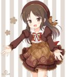 1girl :d bangs beret blush bow bowtie brown_bow brown_eyes brown_hair brown_hat brown_shirt brown_skirt collarbone collared_shirt commentary_request eyebrows_visible_through_hair frilled_shirt frills hat head_tilt idolmaster idolmaster_cinderella_girls idolmaster_cinderella_girls_starlight_stage juliet_sleeves kaiware-san long_sleeves looking_at_viewer open_mouth outstretched_arms parted_bangs plaid plaid_bow plaid_skirt print_skirt puffy_sleeves red_neckwear shirt skirt sleeves_past_wrists smile solo standing standing_on_one_leg striped tachibana_arisu vertical-striped_background vertical_stripes white_shirt