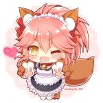 >;d 1girl ;d animal_ears apron bell bell_collar cat_paws collar commentary_request fangs fate/grand_order fate_(series) fox_ears fox_tail heart long_hair looking_at_viewer maid maid_apron maid_headdress one_eye_closed open_mouth paws pink_hair ponytail smile solo tail tamamo_(fate)_(all) tamamo_cat_(fate) thigh-highs twitter_username white_legwear yellow_eyes yukiyuki_441 zettai_ryouiki