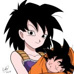 1boy 1girl armor baby black_eyes black_hair closed_eyes dragon_ball gine highres karoine mother_and_son saiyan smile son_gokuu