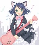 1girl :3 :d animal_ears bangs beamed_quavers beamed_semiquavers bell black_dress black_hair blush bow bowtie cat_ears cat_girl cat_tail commentary_request crotchet curly_hair cyan_(show_by_rock!!) dress eyebrows_visible_through_hair fang frilled_dress frills green_eyes guitar heart_guitar holding instrument jingle_bell juliet_sleeves long_sleeves looking_at_viewer maccha musical_note open_mouth pink_neckwear puffy_sleeves quaver ribbon short_hair show_by_rock!! sleeves_past_wrists smile solo sparkling_eyes tail tareme treble_clef white_ribbon