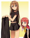 akai_ringo_(ookami-san) blush breasts brown_eyes brown_hair highres kakkii long_hair multiple_girls ookami-san ookami_ryouko school_uniform skirt