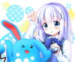 >_o 1girl :o ;d arm_up azumarill bangs blue_eyes blue_neckwear blue_vest blush bow bowtie collared_shirt commentary_request eyebrows_visible_through_hair flat_chest gochuumon_wa_usagi_desu_ka? hagakuri hair_ornament hairclip holding holding_poke_ball kafuu_chino light_blue_hair long_hair long_sleeves looking_at_viewer multicolored multicolored_background one_eye_closed open_mouth pink_outline poke_ball pokemon pokemon_(creature) polka_dot rabbit_house_uniform shirt sidelocks smile star upper_body vest white_shirt wing_collar x_hair_ornament