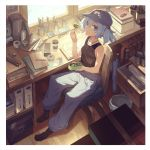 1girl bare_arms blue_eyes blue_hair blue_hat book_stack bottle chair closed_mouth cucumber cup drawer eating from_above glue hair_between_eyes hair_bobbles hair_ornament hat indoors kawashiro_nitori key lighter looking_at_viewer lunchbox pants pencil pocket screwdriver sitting smile solo tank_top tape touhou trash_can window yamamomo_(plank)