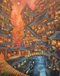 acrylic_paint_(medium) architecture bridge city commentary_request curtains door east_asian_architecture fantasy full_moon highres kemi_neko moon no_humans original outdoors red red_sky scenery sky stairs star_(sky) traditional_media window