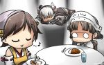 3girls amatsukaze_(kantai_collection) apron bare_shoulders black_dress brown_hair capelet closed_eyes commentary_request cup curry curry_rice dated detached_sleeves dress drinking_glass food glasses hair_tubes hairband hamu_koutarou headgear hiei_(kantai_collection) highres japanese_clothes kantai_collection long_hair long_sleeves multiple_girls musical_note nontraditional_miko pince-nez quaver rensouhou-kun ribbon-trimmed_sleeves ribbon_trim rice roma_(kantai_collection) short_hair silver_hair sitting smile spoon thigh-highs two_side_up windsock yellow_apron