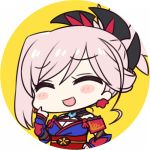 1girl :d bangs blue_kimono blush_stickers breasts chan_co chibi cleavage closed_eyes commentary_request earrings eyebrows_visible_through_hair fate/grand_order fate_(series) frame hair_ornament hand_on_hip hand_up japanese_clothes jewelry kimono laughing long_hair long_sleeves lowres miyamoto_musashi_(fate/grand_order) obi open_mouth pink_hair sash simple_background smile solo upper_body yellow_background