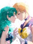 2girls aqua_hair bishoujo_senshi_sailor_moon blonde_hair bow choker circlet couple earrings gloves hand_holding interlocked_fingers jewelry kaiou_michiru looking_at_another mayo_(becky2006) multiple_girls sailor_neptune sailor_uranus short_hair ten'ou_haruka very_short_hair white_gloves yellow_bow yuri