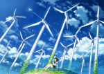 1girl aircraft airplane arm_support bare_legs barefoot black_sailor_collar blue_sky closed_eyes closed_mouth clouds cloudy_sky commentary_request day glint grass hill kemi_neko original outdoors pleated_skirt school_uniform serafuku shirt short_sleeves sitting skirt sky smile solo white_shirt wind wind_turbine windmill